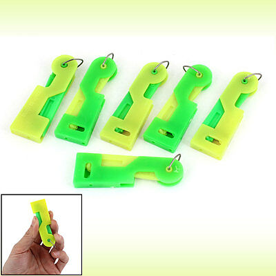 Home Plastic Press Button Yellow Green Sewing Tool Needle Threader 6 Pieces