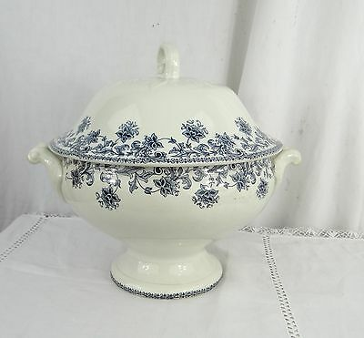 Antique French Soup Tureen - Ceramic St Amand Pattern Jane - Age 1930 White blue