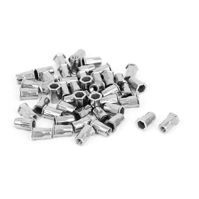 50pcs M4 Stainless Steel Reduced Flat Hex Head Blind Rivet Nuts Insert Nutserts