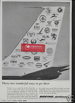 Boeing Aircraft 1964 Boeing 707-720 Thirty Two Wonderful Ways To Get There Ad