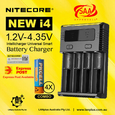 Nitecore i4 Intellicharger Charger +4X 1.2V 2600mAh AA  Rechargeable Battery