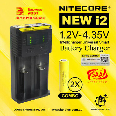 Nitecore New i2 Battery Charger + 2X LG ICR 18650 Battery HE4 Rechargeable 2500m