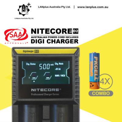 Nitecore D2 battery Charger + 4X 1.2V 2600mAh AA NI-MH Rechargeable Battery