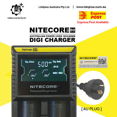 Nitecore D2 Digicharger LCD Smart Battery Charger Li-ion RCR123 18650 26650 Nimh
