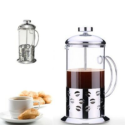 350ml Stainless Steel Glass Cafetiere Teapot Pot Filter Coffee Tea Press Plunger