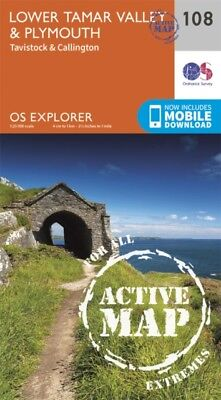 OS Explorer Map Active (108) Lower Tamar Valley and Plymouth (OS Explorer Activ.