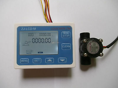 "2017 Hall effect G1/2"" Flow Water Sensor Meter+Digital LCD Display control"