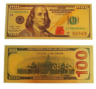 New $ 100 Dollar Color Gold Notes Money Banknotes Fine Beautiful Crafts