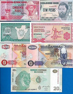 Africa SET-1 Seven (7) Banknote Set Uncirculated Banknote FREE SHIPPING