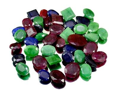 420ct / 43pcs Natural Emerald Ruby Sapphire Ring Size Gemstone Wholesale Lot