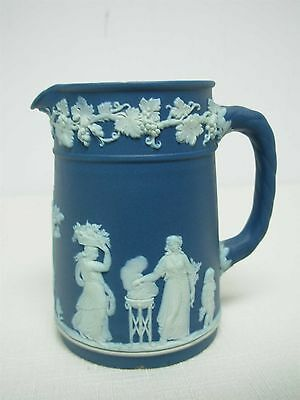 "Antique Wedgwood England Dark Blue Jasperware Small 3 3/4"" Syrup Pitcher"