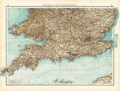 Antique Map-GREAT BRITAIN-ENGLAND-WALES-SOUTHERN PART-Andree-1904