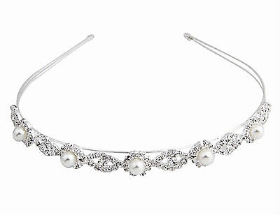 Women Lady Girls White Wedding Pearl Bride Crystal Bling Hair Headband Hoop Prop