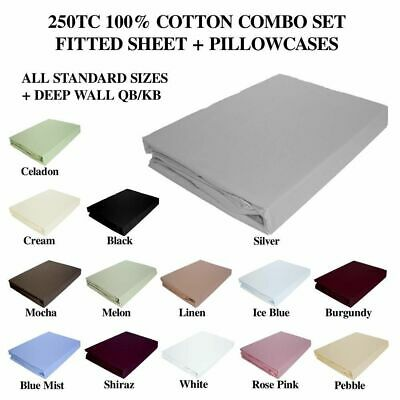 Kingdom 100% Cotton Combo Fitted Sheet + Pillowcases - 7 Sizes - 250Tc (Ckc250)