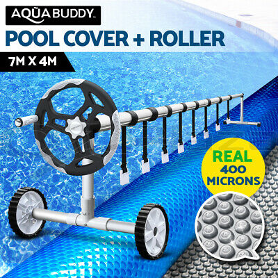 Solar Swimming Pool Cover Blanket Bubble with Roller Wheel Adjustable 7 X 4m