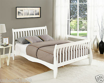 Pine Double Sleigh Bed Frame White or Natural 4FT6 Size Solid Wood Bed Design