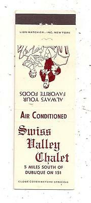 Swiss Valley Chalet U.S. 151 Dubuque IA Matchcover 090115
