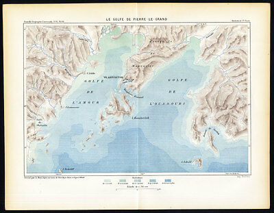 Antique Map-PETER THE GREAT GULF-SEA OF JAPAN-RUSSIA-Reclus-1881
