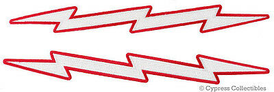 LOT of 2 LIGHTNING BOLT iron-on EMBROIDERED PATCH LARGE RED APPLIQUE SEE PHOTOS