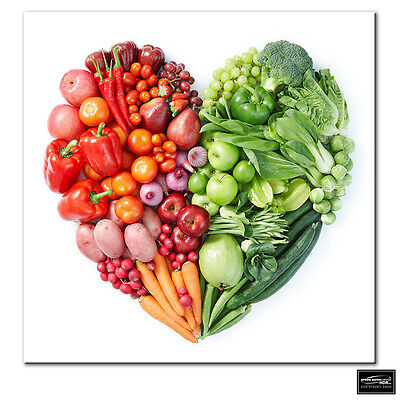 BREAKFAST FOOD FRUITS AND VEGETABLES KITCHEN Canvas Wall Art Picture F92 MATAGA