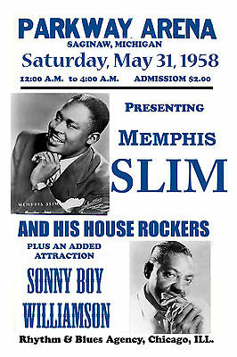 The Blues: Memphis Slim & Sonny Boy Williamson Concert Poster 1958