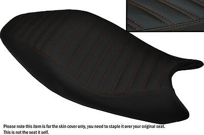 Design 5 Brown Stitch Custom Fits Ducati Monster 2008-2012 Leather Seat Cover