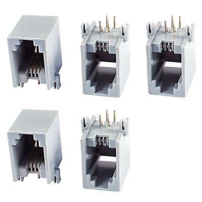 5 Pieces Gray Right Angle PCB Telephone Modular Jack RJ11 4P4C Socket Connector