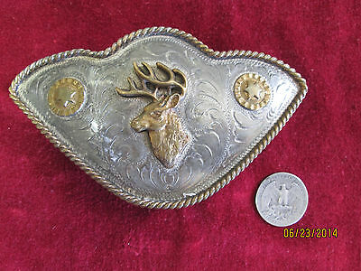 Vintage Alpaca Mexico Silver Tone  and Brass Elk Head on Men's Belt Buckle