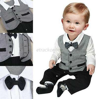 Baby Boys Tuxedo Gentleman Bow Romper Suit Wedding Birthday Party Outfit 0-18M
