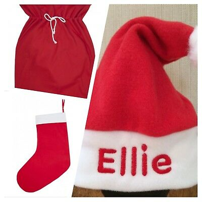 Personalised Baby Toddler Santa Hat, Stocking, Sack! Christmas Gift,boy girl