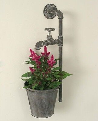 """Water Spigot Wall Planter w/Flower Pot, 20"""" H, Vintage Look, Wall or Fence Mount"""