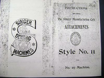 1905 Singer Puzzle Box Attachment Manual Style 11 / #27 Sewing Machine free shpg