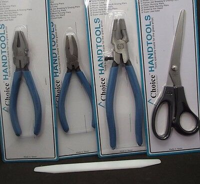 STAINED GLASS HAND TOOL SET Running Breaker Grozer Pliers Foil Shears Flat Fid