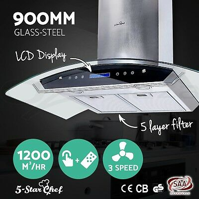 Commercial Rangehood Range Hood Stainless Steel Kitchen Canopy 90cm 900mm LCD