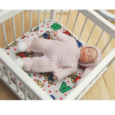 Dolls House Miniature Figure 1:12 Scale People Sleeping Baby in Pink Sweater