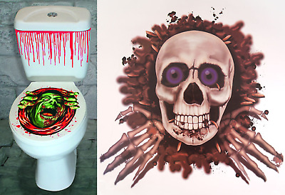 Halloween Toilet Seat & Fake Blood Sticker Set Scary Horror Party Decoration