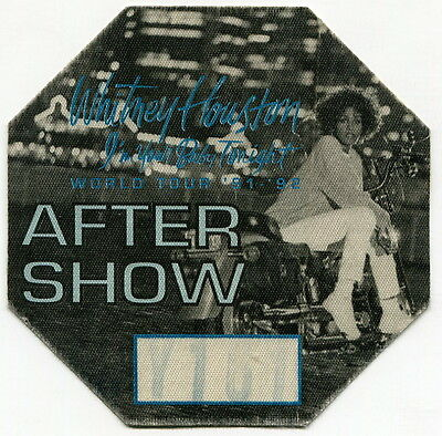 "Original WHITNEY HOUSTON 1991 ""After Show"" Party Pass: ""I'M YOUR BABY TONIGHT"""