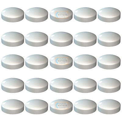 White Plastidome 2 Piece Plastic Dome Screw Cap Covers - Pack of 25