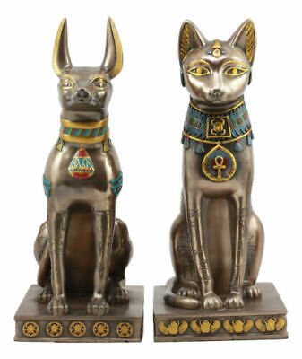 Egyptian Goddess Bastet And God Anubis Sitting On Pedestal Statue Set Of 2