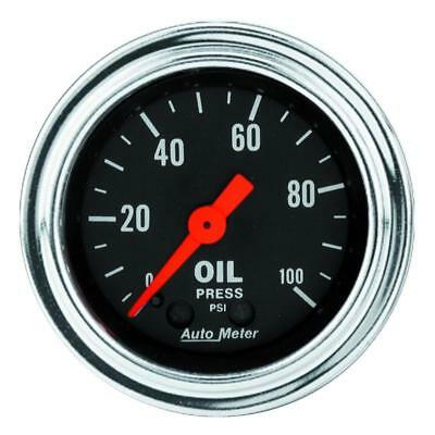 """Auto Meter 2421 Traditional Chrome 2-1/16"""" Mech. Oil Pressure Gauge, 0-100psi"""