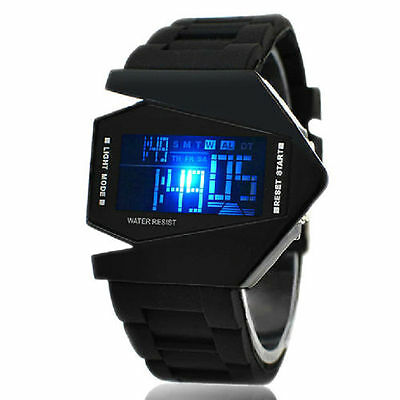 Stainless Steel Fashion Men's Black Luxury Sport Digital LED Wrist DIAL Watch