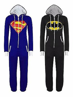 Womens Mens Superman Batman Cosplay Playsuit Ladies All In One Piece Jumpsuit