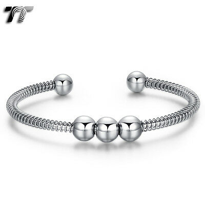 Mens Womens Silver TT 316L Stainless Steel Bead Cuff Bangle (BS54) NEW Arrival