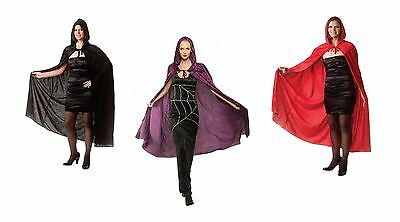 "Adult Long Hooded Velour 65"" Cloak Fancy Dress Costume Outfit Cape Book Day Week"