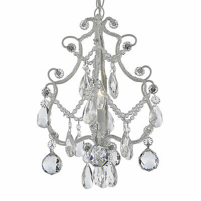 Wrought Iron and Crystal 1-light White Chandelier Pendant