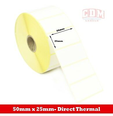 16,000 Direct Thermal Labels - 50mm x 25mm - Zebra LP2844 Label Printer