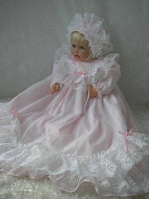 Angelic Pink Christening Gown For 19-21 Inch Reborn