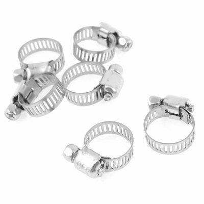 6 x Adjustable Silver Tone Stainless Steel Band 9-16mm Worm Drive Hose Clamp
