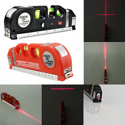 Laser Guide Level Measuring Rulers Tape Straight Cross Horizontal Mapping New