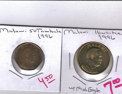 From Show Inv. - 2 UNC. COINS from MALAWI - 50 TAMBALA & 1 KWACHA (BOTH 1996)